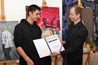 Uroczystość wręczenia stypendium Marcina Kowalika, ufundowanego dla uczniów III i IV klas Liceum Plastycznego w Zamościu.